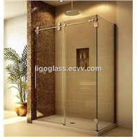 Sliding frameless tempered glass shower door
