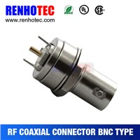 Straight Copper BNC Jack PCB Mount Coaxial Connectors RF Magnetic Electronic Connectors
