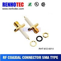 ROHS UL SMA Straight Female 2 Hole Flange Electrical Connector Crimp RF Coaxial SMA Connectors