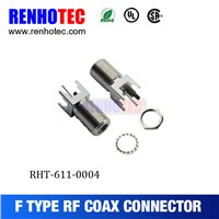 ROHS UL Zinc Alloy Straight F Female PCB Crimp Cable RF Electrical Connectors