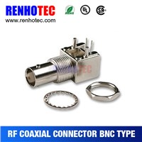 Right angle rf coaxial connector bnc type for security systems