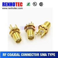 Straight SMA Female Crimp Electronic Coaxial PCB Mount SMA Connectors