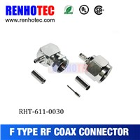 Zinc Alloy 75 Ohm F Right Angle Male Crimp Connector Cable RG179 Coaxial Connectors
