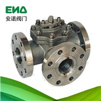 Three way flange titanium ball valve