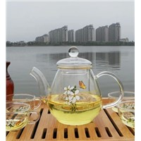 Handmade Decal Paper Glass Teapot and Cup Heat Resistant Glass Material Glass Teapot China Supplier