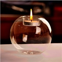Round Globe Glass Candle Holder with tealight candle Home Decoration Club Supplies Wedding Props