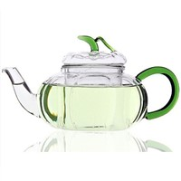 Pumpkin Shaped Glass Teapot with color handle and leaf lid Bar Teashop Tea and coffee Tools