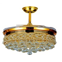 Hidden Blades Ceiling Fan Chandelier Crystal Light
