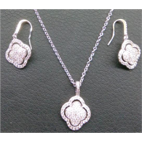 fashion alloy silver plated necklace and earring set