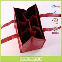 laser film laminated non woven fabric 6 bottle gift wine bag