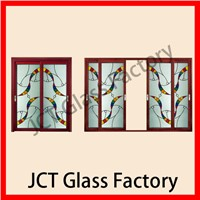 Tempered stained sliding glass door room divider
