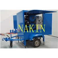 Mobile trailer type transformer oil filtration with double stages