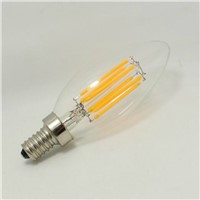 CE RoHs ETL Approved 6W Dimmable LED Filament Candle Bulb Light with Bullet Top E12 E14 Base