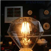 6W AC110V AC220V Dimmable E26 E27 diamond shape LED Filament Bulb