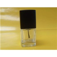 Clear Square Glass Nail Polish Bottle With Cap and Brush