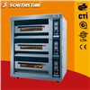 stainless steel three layers six trays electric deck oven for small bakery
