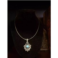 Fashion antique silver turquoise necklace wholesale