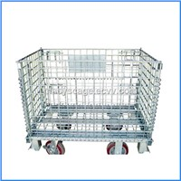 Collapsible Steel Wire Mesh Cargo Container with Wheels