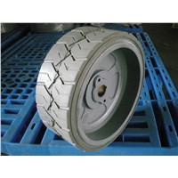 Non marking solid tire with rim for Genie GS-1530 GS-1532 GS-1930. GS-1932