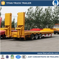 Heavy duty 3 axle low bed trailer lowbed semi trailer , low loader truck trailer for sale