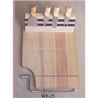 4 PCS Cheese Knife with Wood Chopping Board