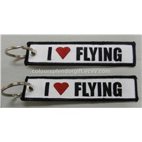 Airlines I LOVE FLYING Classic Embroidery Keychain Aviation Key Tag