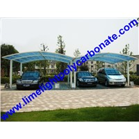 aluminium carport with white frame and blue polycarbonate sheet for public car shed awning canopy