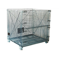 Steel warehouse storage wire cages with wheels