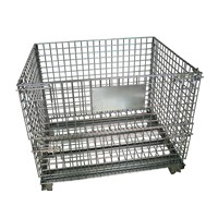 Heavy duty industrial steel wire mesh lid container