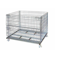 Welded foldable stacking steel warehouse storage cage with wheels