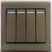 stainless steel golden 4gang 1way wall switch