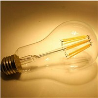A21 A66 8W Dimmable Long Neck LED Filament Bulb with ETL
