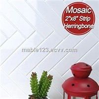 "2""x8"" herringbone white mosaic kitchen wall tiles"