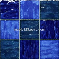 Wave pattern pool mosaic blue blend ,4''x4'' square mosaic tile