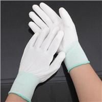 White PU Palm Fit Gloves PU Coated Glove