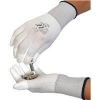 White Fingertip Coated PU Top Fit Gloves
