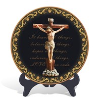Handmade wood religious Christian Jesus on the cross plate  activated carbon carving crafts