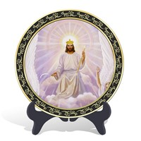 Home decoration religious Christian Jesus' ascension plate activated carbon carving wood craft