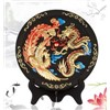 Handmade carved business gift dragon flying and phoenix dancing plate activated carbon carving craft
