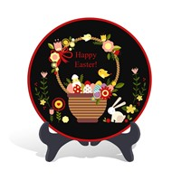 Home decorative Easter holiday gift plate activated carbon carving craft