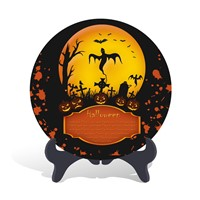Home decorative Halloween holiday decorations and gift plate activated carbon carving craft