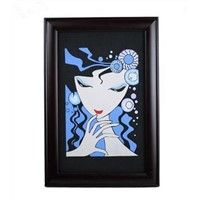 Wall hanging Charming lady solid wood photo frame embossment activated carbon carving craft