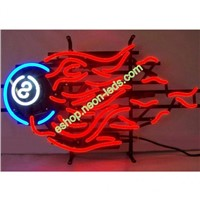 8 Ball Fire Neon Sign