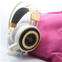 G-shark S2 Stereo Over-Ear Headset with Microphone and  Vibration LED Light Gold