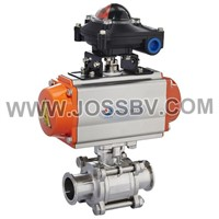 Pneumatic Hygienic 3PCS Ball Valve With Visual Control Head