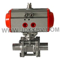 3PCS Sanitary Ball Valve With Actuator Butt Weld