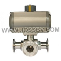 Sanitary Three-Way Ball Valve with Actuator