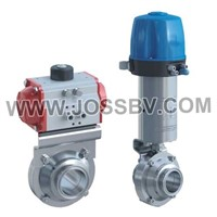 Sanitary Butterfly Ball Valve with Actuator