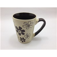 Top sale china bulk simple design stoneware ceramic coffee mugs with flower pattern