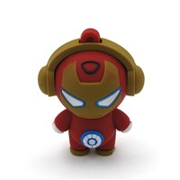 Promotional USB 2.0 Memory Stick Flash Pen Drive Iron Man Model Enough Memory PVC LED Indicator